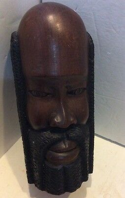 Vintage African Hand Carved Wooden Bust/head Of A Male Figure  Ebony Dark Wood