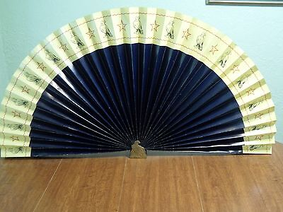 "Vintage Gold Air Line Mfg Co Fireplace Background Fan 41"" Spread Rare Eagle Base"
