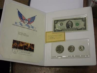 1976 Bicentennial Collection Federal Reserve $2 Note & Coins & Stamps- ID#k683