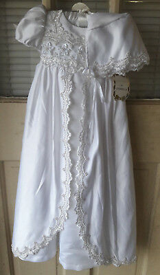 Couture Christening Gown & Bonnet by Cinderella Infant Girl's size 12M Ivory NWT