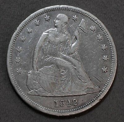 Solid U.S. 1842 P Liberty Seated 90% Silver $1 Dollar Coin Genuine No Reserve