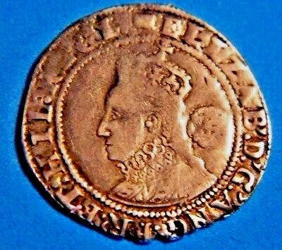 Beautiful Tudor 1594 Elizabeth 1St Silver Sixpence Rose Beside Bust Mm Woolpack.