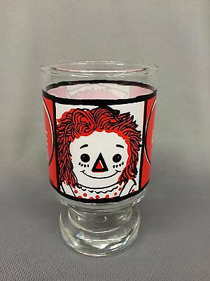 """Vintage 1972 Raggedy Ann & Andy """"I LOVE YOU"""" Juice Drink Glass by Bobs Merrill"""