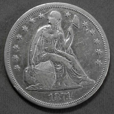 Solid U.S. 1871 P Liberty Seated 90% Silver $1 Dollar Coin Genuine No Reserve