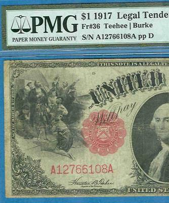 $1.00 Fr.36 1917 Red Seal Legal Tender United States Note Pmg Certified  Fine15