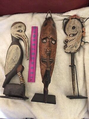 Papua New Guinea wood carvings / status-3 nice statues-In very good condition