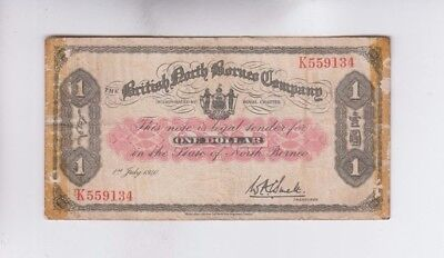 British North Borneo one old note tape about fine