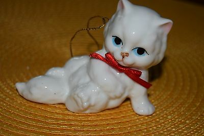 Vintage Bone China Ornament PERSIAN WHITE KITTEN