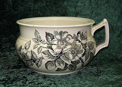 Antique T G & F Booth Dark Green Floral Sylvan Transferware Commode Chamber Pot