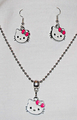 Hello Kitty Necklace/Earrings Set Hot Pink Bow Stainless Steel Chain made in USA