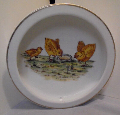 """Childs Feeding Bowl, Chicks Eating Seeds Germany 1.75"""" Tall 7.75"""" Across Vintage"""