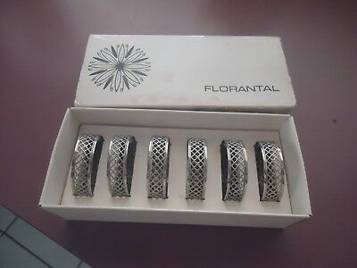 Boxed Set 6 Silver Plated Filigree Napkin Rings Made England By Florantal