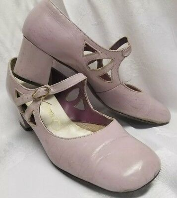 Chunky Heel Qualicraft Late 60's Cut Out Side Lavender Dress Shoe As Is Sz 6.5