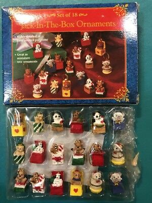Miniature Jack In The Box Christmas Tree Ornaments set of 18 in box resin -New
