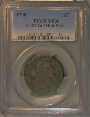 1798 1C 2nd Hair Style Draped Bust Cent PCGS VF30