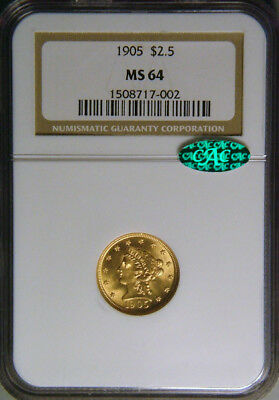 1905 $2.50 Gold Quarter Eagle NGC & CAC MS64, Great Luster