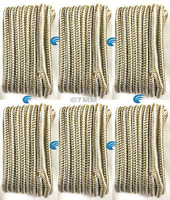 "(6) Gold/White Double Braided 1/2"" x 15' HQ Boat Marine DOCK LINES Mooring Ropes"