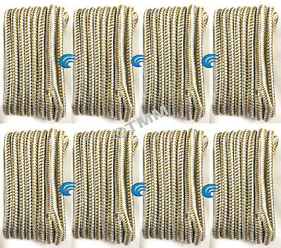"(8) Gold/White Double Braided 1/2"" x 15' HQ Boat Marine DOCK LINES Mooring Ropes"