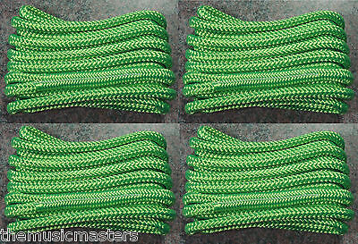 "(4) Green Double Braided 1/2"" x 15' ft Boat Marine HQ Dock Lines Mooring Ropes"