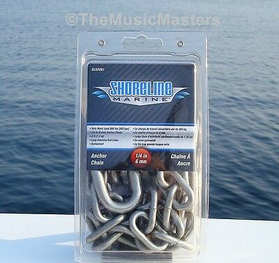 """1/4"""" inch 4' ft Galvanized Anchor Line Rope Lead Chain Boat Marine Dock Raft"""