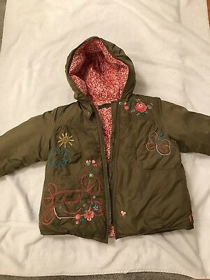 Beautiful Oilily Embroidered Green Puffy Jacket Size 98,3,3T