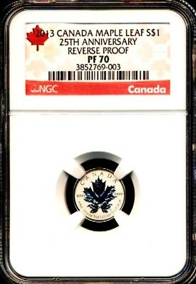 2013 $1 1/20 Canada Silver Maple Leaf Ngc Pf70 Reverse Proof 25Th Anniversary Rl