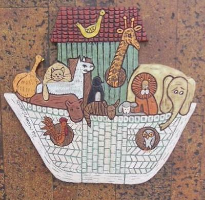 1973 Gail M Johnson Noah's Ark Children's Room Wall Hanging Church Religion Art