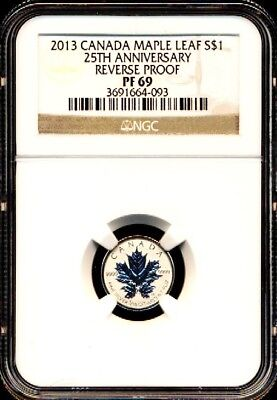 2013 $1 1/20 Canada Silver Maple Leaf Ngc Pf69 Reverse Proof 25Th Anniversary