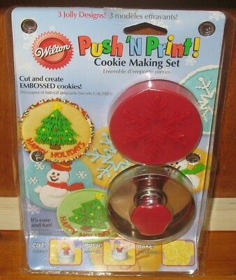 Wilton Push 'N Print Cookie Making Set Christmas Cookie Cutter New