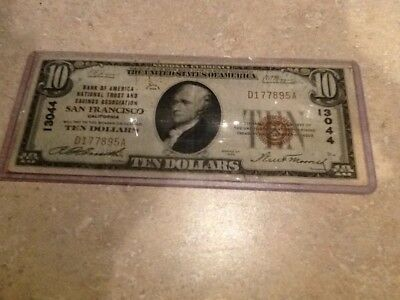1929 $10 National Currency Note - San Francisco CA - Nice Condition