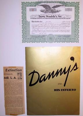 RARE Danny's Hideaway + His Inferno Stock Certificate and Menu Celeb Hangout