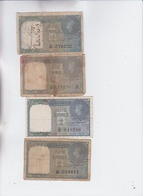 India Paper Money four old note lower grade and up