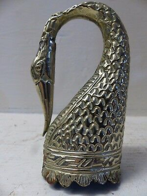 Very Beautiful White Metal Persian Indian Swans Head Vessel - Unusual Example