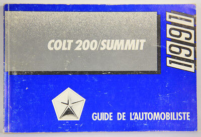 L001837 Dodge COLT 200 SUMMIT 1991 / Owner's Manual / FRENCH / COMPLETE