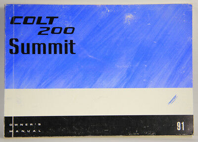 L001836 Dodge COLT 200 SUMMIT 1991 / Owner's Manual / ENGLISH / COMPLETE