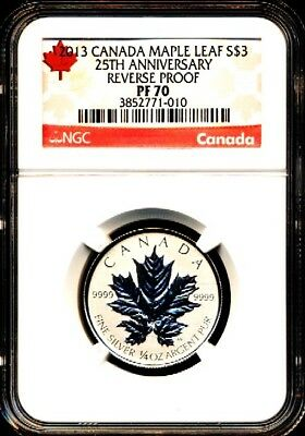 2013 $3 1/4 Canada Silver Maple Leaf Ngc Pf70 Reverse Proof 25Th Anniversary Rl