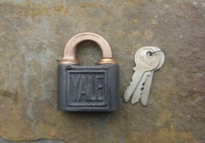 Antique Bronze & Cast Iron Yale & Towne Push Padlock & Keys  Yale Lock & Keys