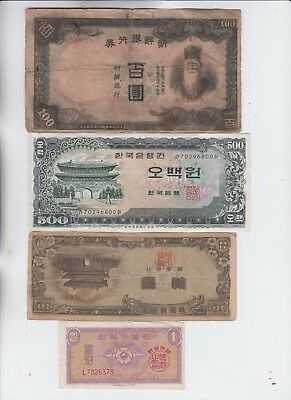 Korea Paper Money four old notes lower grade and up