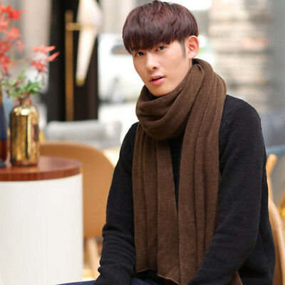 Men Male Fashion Solid Color Knitted Winter Warm Warmer Neck Scarf Shawl Scarves