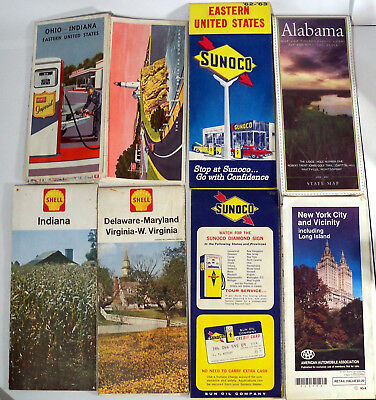 Lot of vintage road maps US oil gas advertising retro 60's Shell Imperial Sunoco