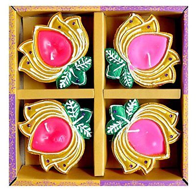 Traditional Multicoloured Diwali Diya with Wax & Glitter Pack of 4 - ED86502