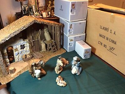 Lladro Nativity Figurine Set with Stable - Mary, Joseph, Baby Jesus with Camel