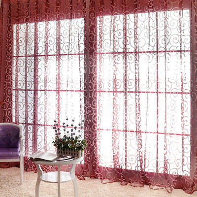 New Tulle Voile Door Window Curtains Drape Sheer Scarf Valances