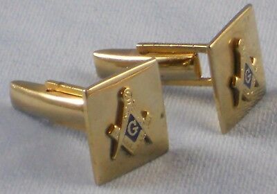 Gold Tone Masonic Cuff Links Square and Compass In Vintage Tex Tan Gift Box