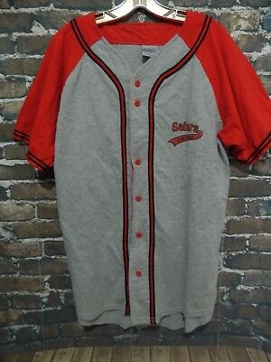 RARE Sahara Hotel and Casino Las Vegas Mens Baseball Jersey Shirt Gray and Red