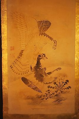 ANTIQUE JAPANESE 1715 EDO ERA HAWK / EAGLE BYOUBU PAINTING # 1 of 2