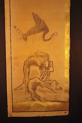 ANTIQUE JAPANESE 1715 EDO ERA HAWK / EAGLE BYOUBU PAINTING # 2 of 2