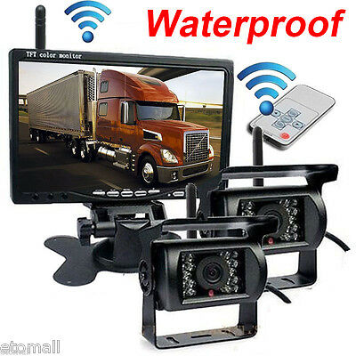 "For RV Truck Bus 7"" Monitor+2 X Wireless Rear View Backup Camera Night Vision US"