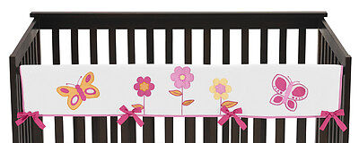 Jojo Pink Orange Butterfly Front Rail Guard Crib Cover Baby Teething Protector
