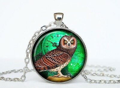 EMERALD OWL CLOCK MIDNIGHT ART STEAMPUNK WITCH LUCID  glass necklace pendant NEW